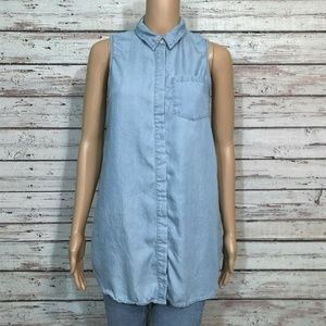 Hinge Blue Chambray Button Up Tunic Shirt Top